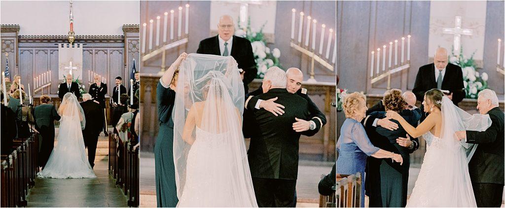 groom seeing bride coming down aisle at chapel wedding charleston wedding at citadel summerall chapel