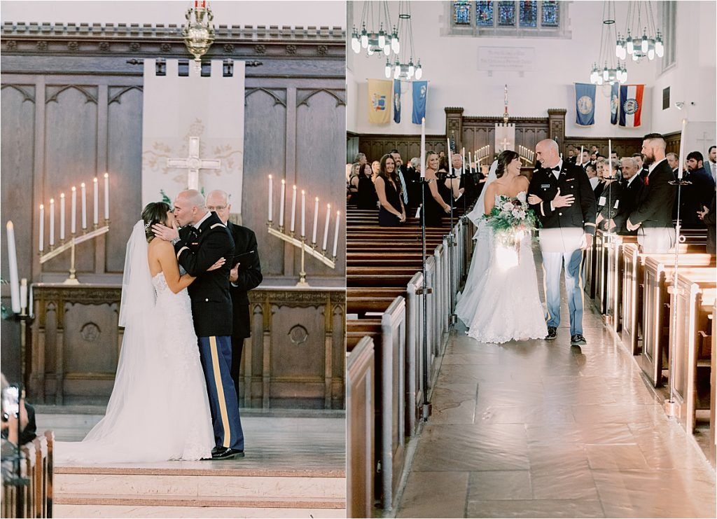 groom seeing bride coming down aisle at chapel wedding charleston wedding at citadel summerall chapel