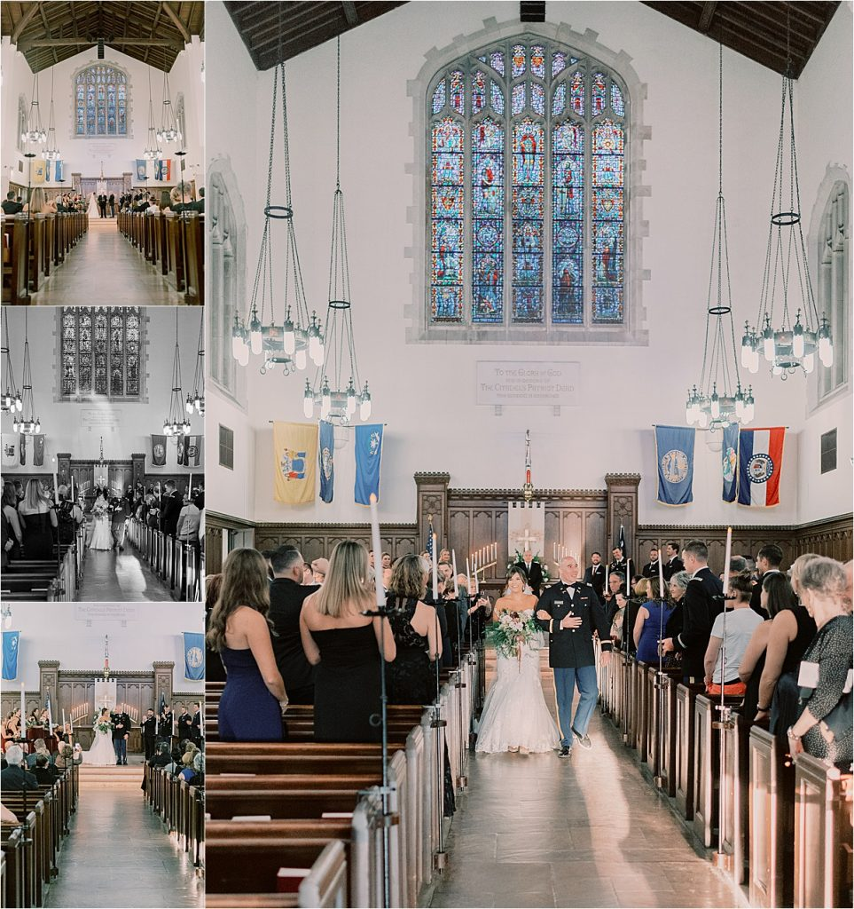 bride and groom exiting chapel after first kiss charleston wedding  recessional citadel summerall chapel