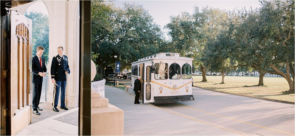 waiting for wedding at citadel summerall chapel to begin wedding party arrives on trolley