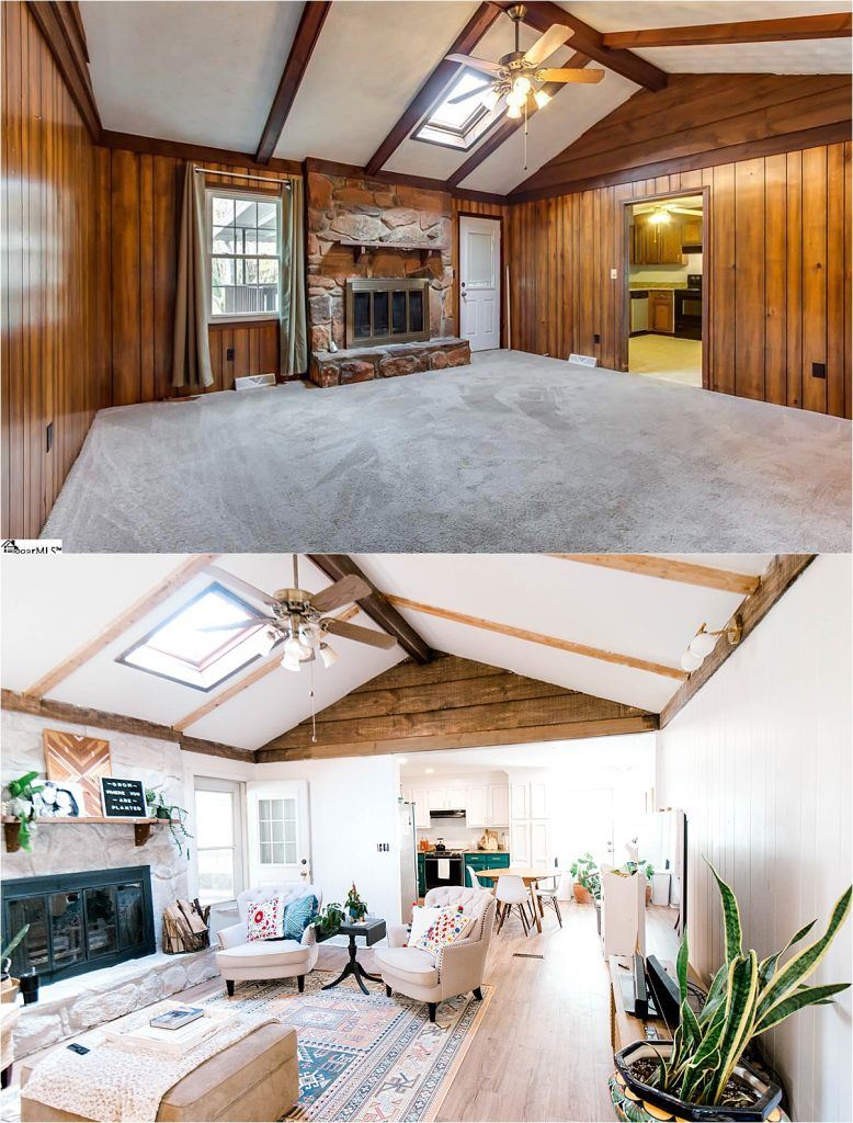1970s split level home renovation interior before and after removing walls open floor plan mid century modern design
