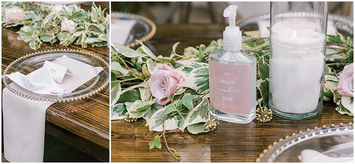 covid 19 coronavirus precautions wedding details wedding during pandemic greenville sc wedding photography hand sanitizer bejeweled bridal mask