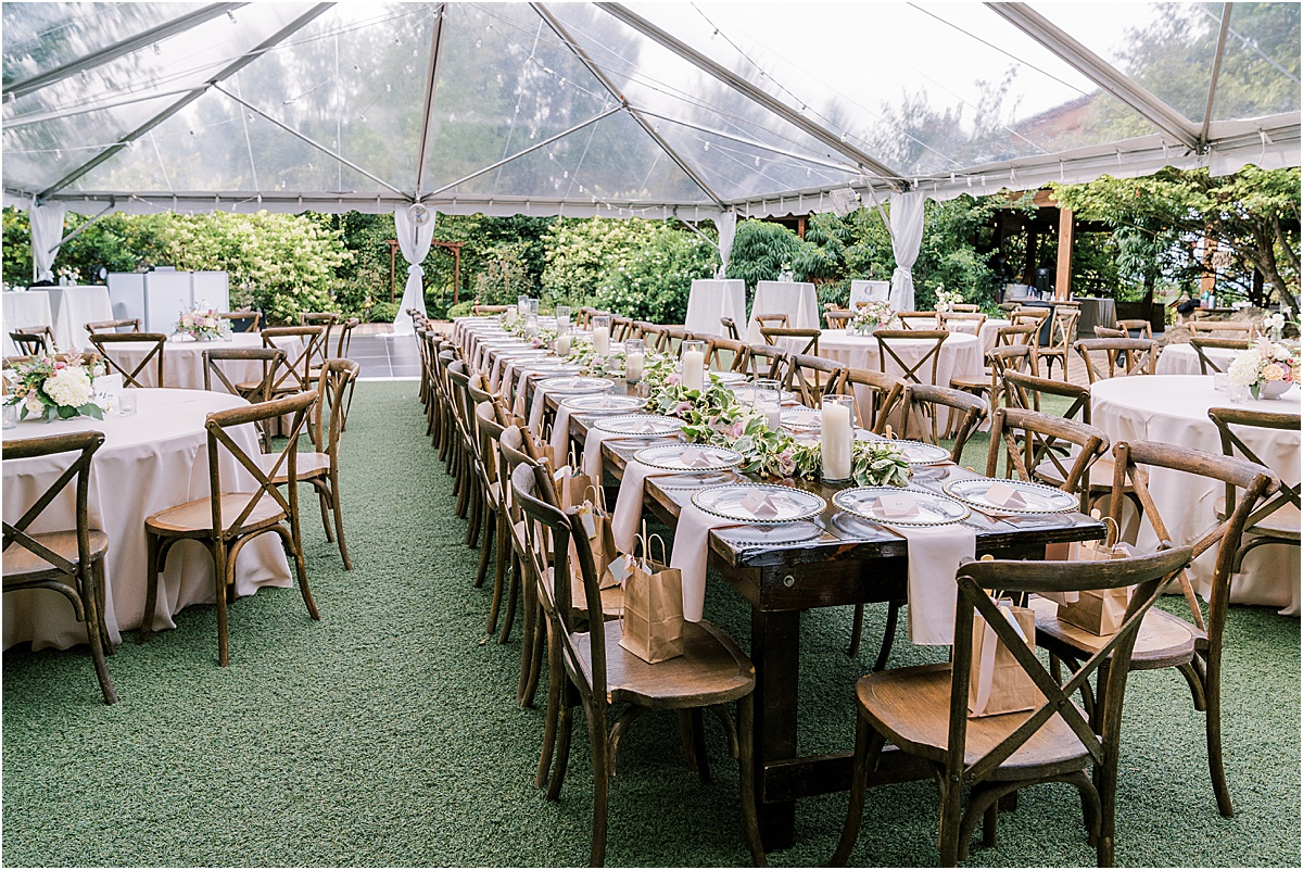 clear tent over reception space in garden area at viewpoint at buckhorn creek greenville sc wedding venue