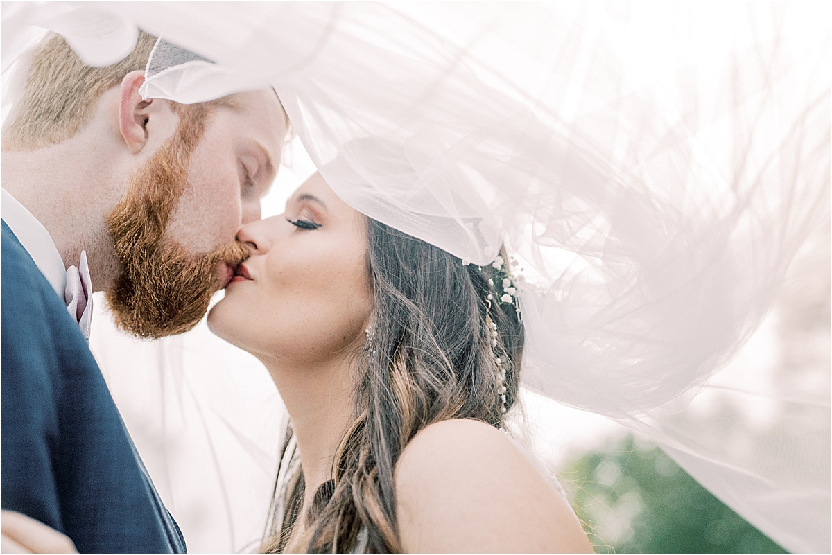 bride and groom portraits kissing under a veil at sunset golden hour greenville sc