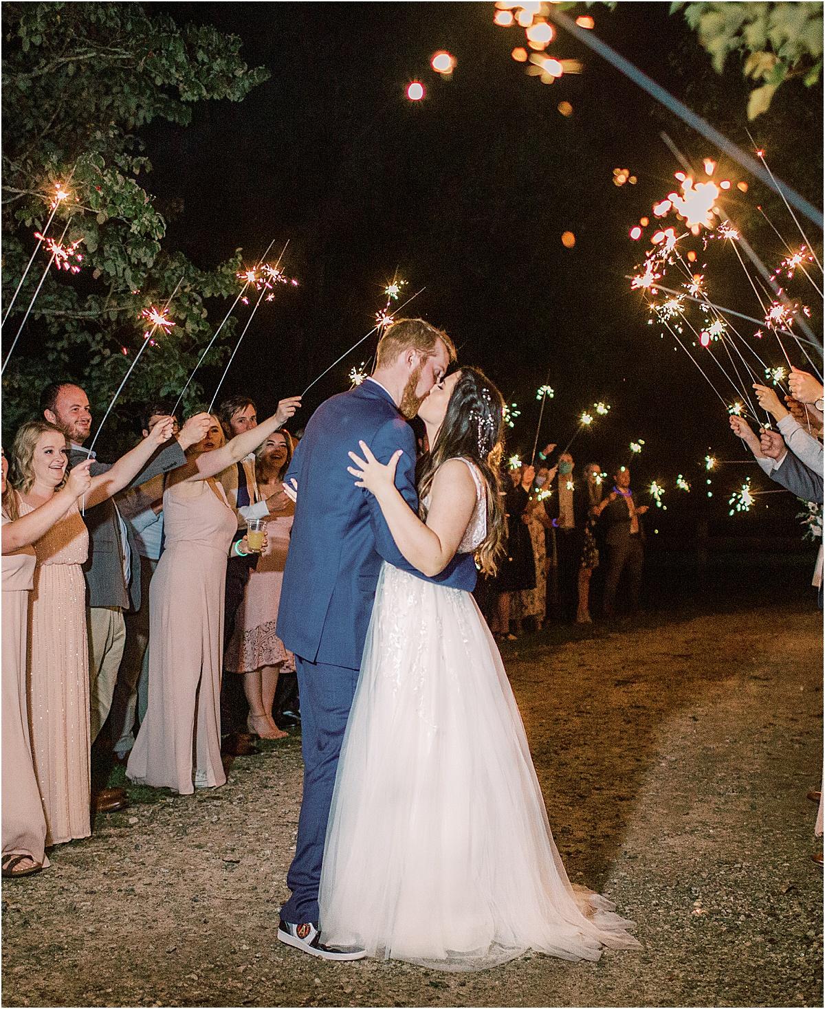 greenville sc wedding sparkler exit