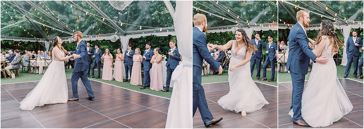 bride and groom's first dance under a clear tent reception greenville sc wedding reception