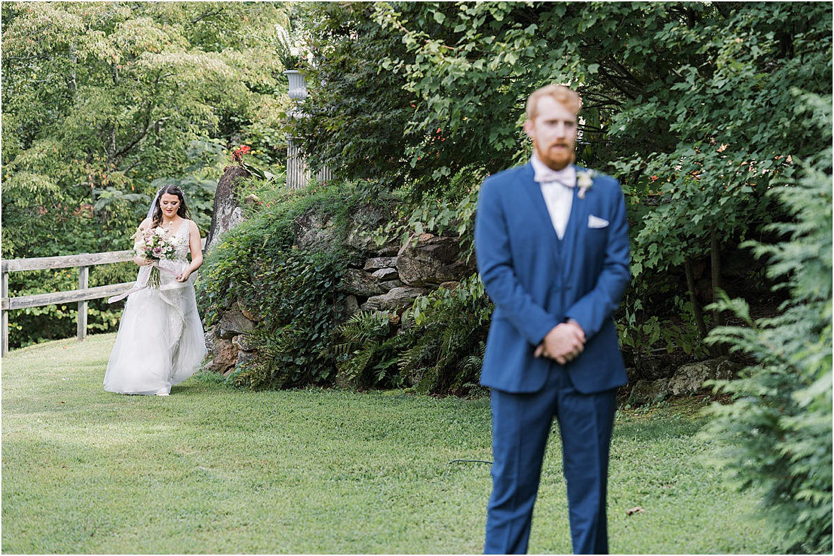 bride's first look with groom reveal wedding day first look greenville sc wedding photography
