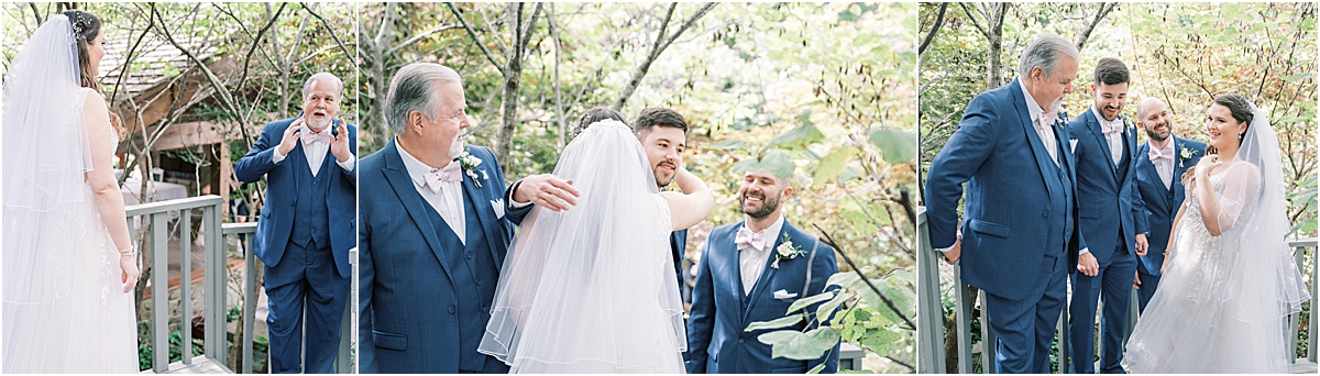 bride's first look with dad and brothers reveal wedding day first look greenville sc wedding photography
