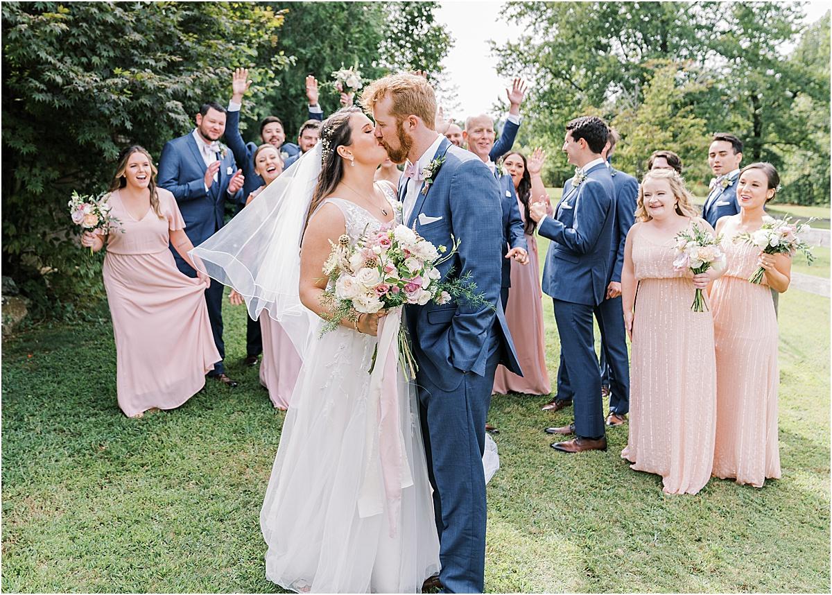 bridal party walking together at viewpoint at buckhorn creek greenville sc wedding