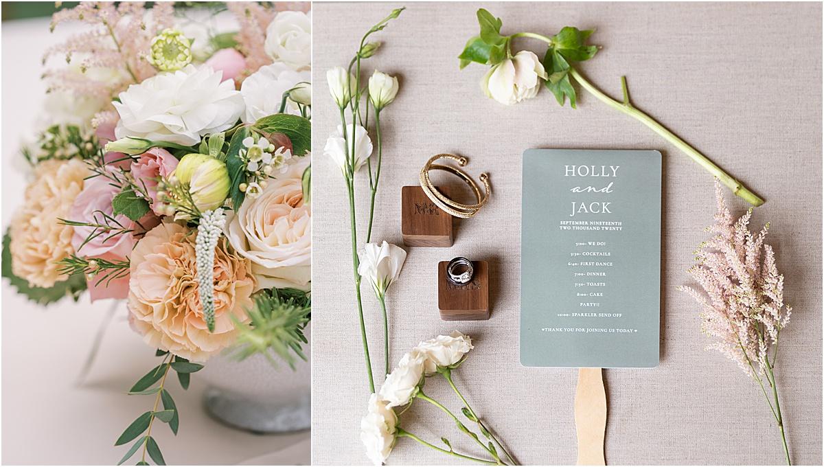 wedding program and floral details greenville sc wedding at viewpoint at buckhorn creek