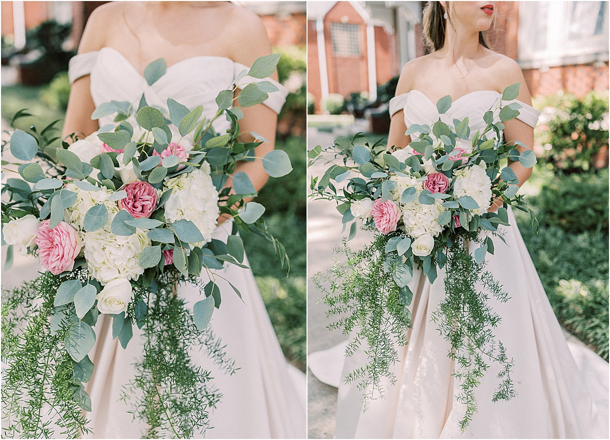 close up of white and pink bridal bouquet greenville sc wedding photography