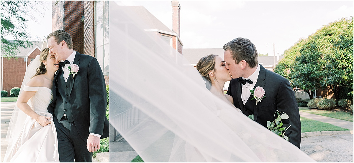 bride and groom portraits with veil outside church Greenville SC wedding photography golden hour