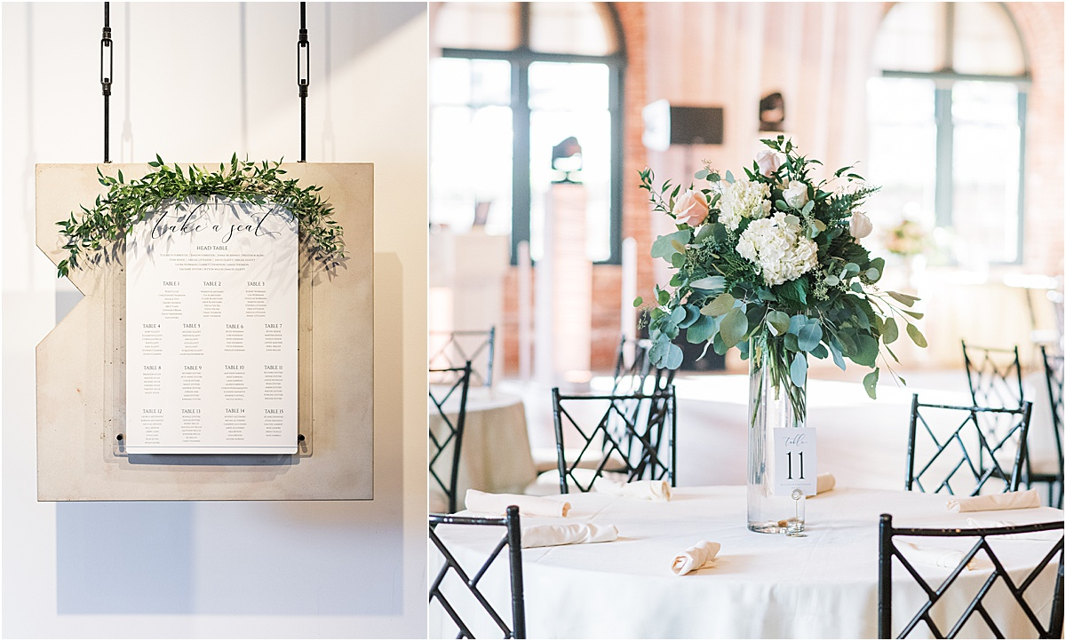 Wedding details and seating chart at Larkin's The L event space downtown Greenville wedding