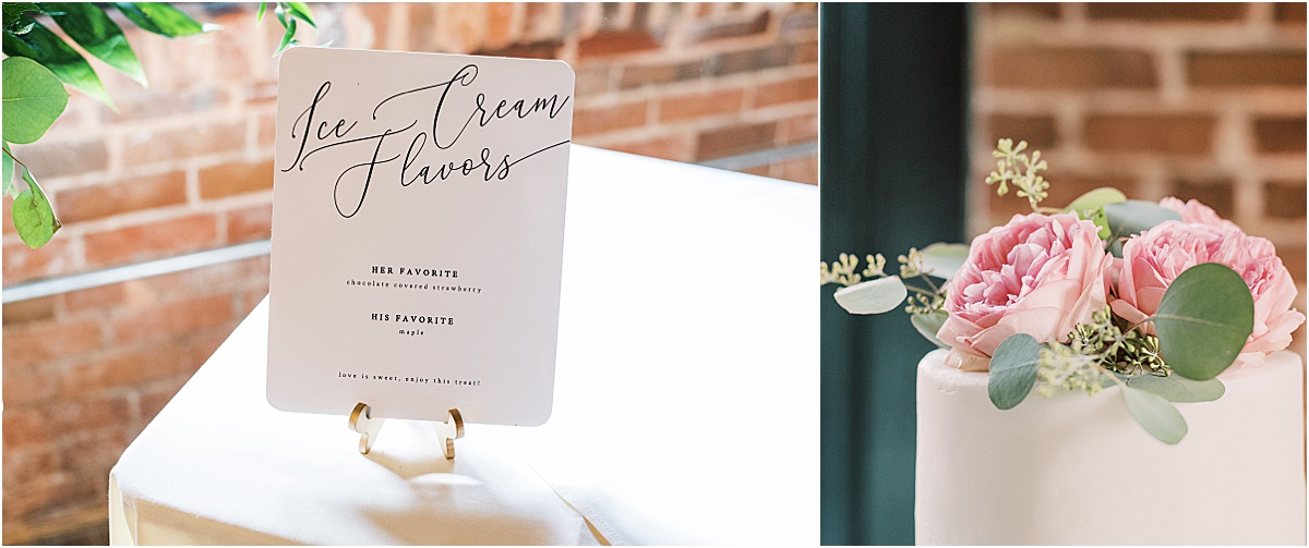 Wedding details and cake at Larkin's The L event space downtown Greenville wedding