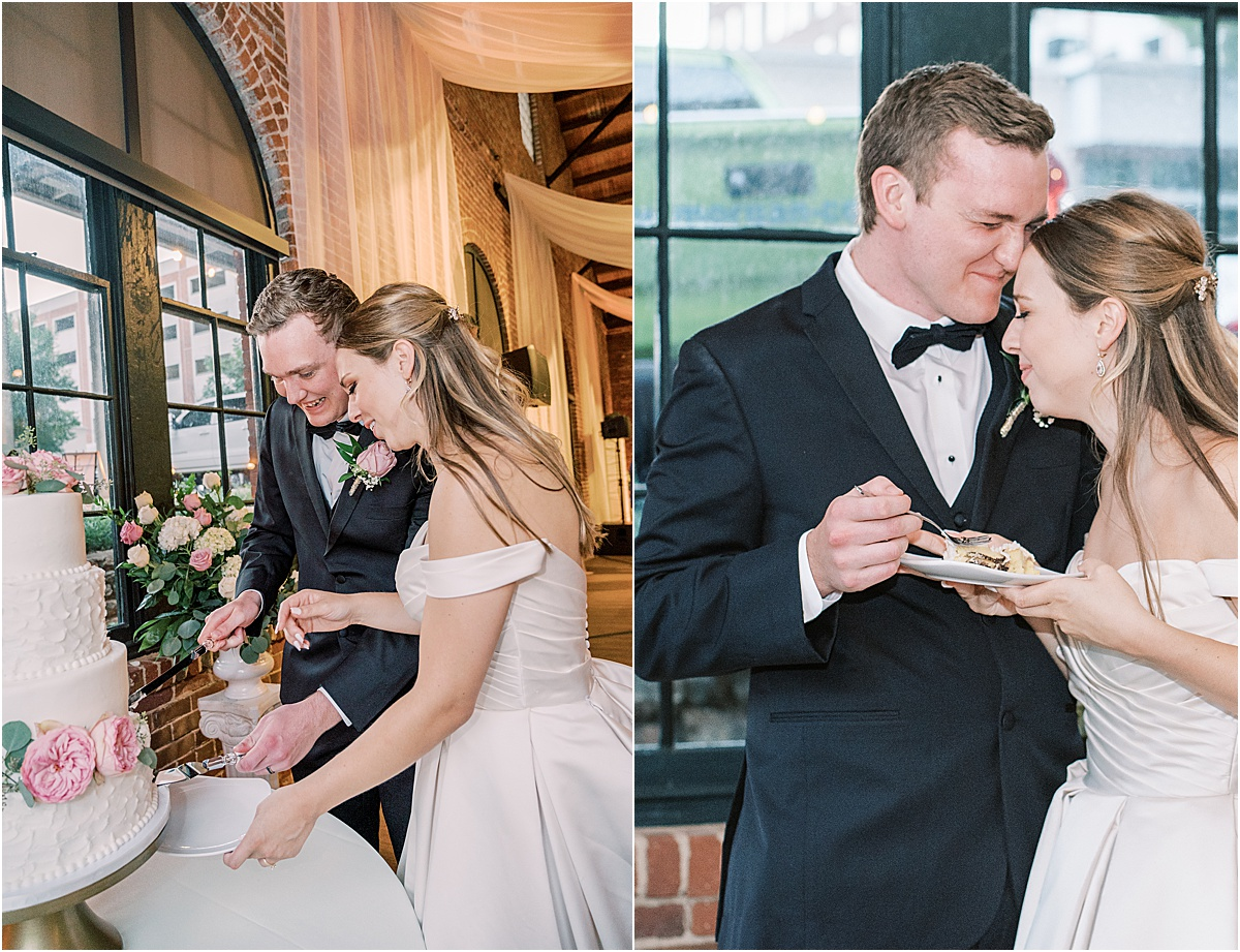 Bride and groom cutting cake and laughing at Larkin's the L wedding reception venue Greenville SC