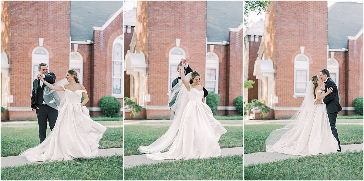 bride and groom portraits dancing outside Greenville SC wedding photography golden hour